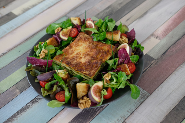 Lasagne Grünkohl an herbstlichem Blattsalat